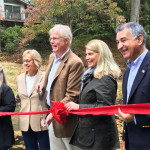 L to R: Ed Gentile, Darien Director of Public works, Lucia Zachowski, President, Friends of Gorham's Pond, State Rep Terrie Wood, John Lundeen, FOGP Chair, Jayme Stevenson, Darien First Selectman and State Senator Carlo Leone.