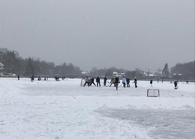 Hockey game on frozen Gorham's Pond
